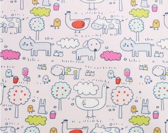 Cotton Fabric Animals Chicken Duck Cow Cat Birds - Pink - per Yard 29704