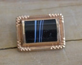 Pretty antique victorian gold filled brooch / pin with banded black agate / onyx stone / steampunk