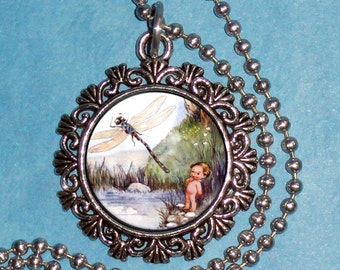 Vintage Water Babies  Art Pendant, Tom and the Dragonfly Resin Pendant, Photo Pendant Charm