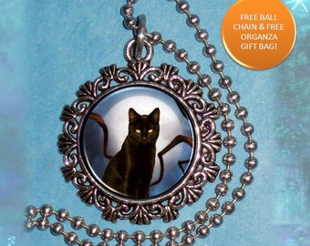 Black Cat & Moon, Art Photo Charm, Wild Animal Resin Pendant, Ball Chain Necklace