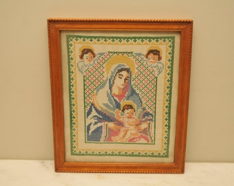 Vintage Christian Virgin Mary and Baby Jesus with Angels Needlepoint