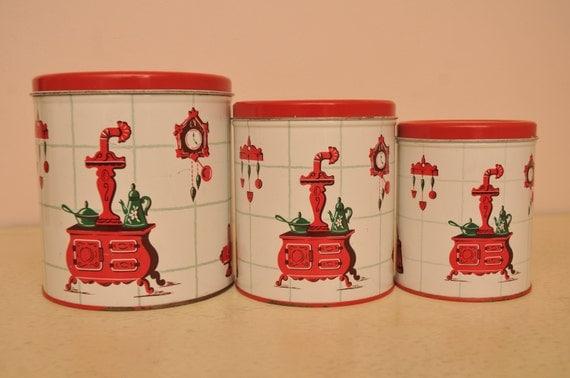 Vintage 1950s Metal Red Kitchen Canister Set with Vintage Kitchen Design