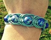 Blue Beaded Fishbone Macrame Bracelet