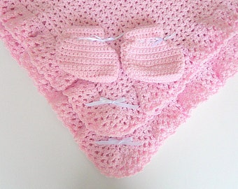 Pink Baby Blanket  With  Booties  Infant Girl Pastel Afghan And Slippers Newborn Shower Gift Set Ready To Ship