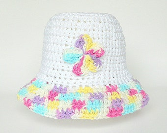 Teen Girl Spring Hat Adult Cotton Cap White  Beanie With Pink Yellow Purple Blue Flower   Summer Clothing