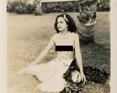 Pretty Topless Hawaiian Woman in Grass Skirt and Pearls--Original Vintage Photograph (1930s or 1940s) -- Mature Content