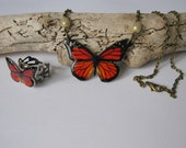 Monarch Butterfly Antique Brass Necklace & Ring Set