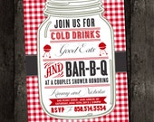 Couples Shower Barbecue, Business Invitation, Barbeque, BBQ, Picnic Summer, Red White Check Gingham Wedding Bridal (DIY Digital Printable)