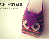 Crochet bag pattern, crochet owl bag, Striped owl bag, Pattern No. 14
