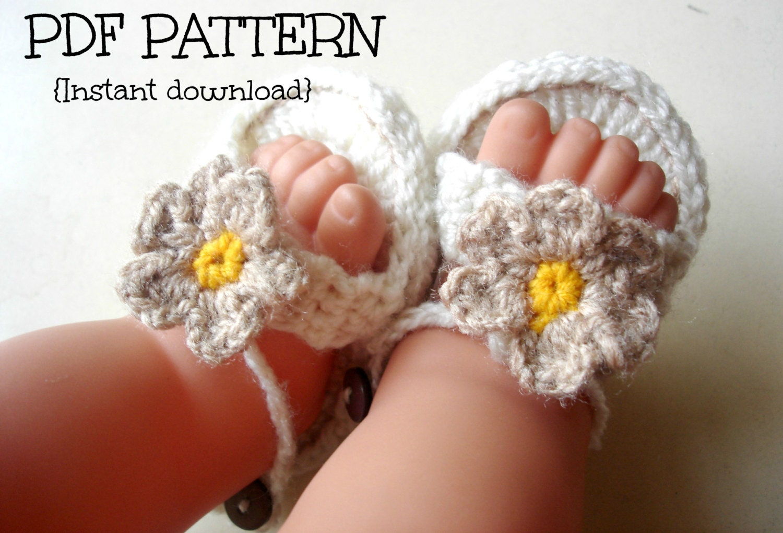Crochet Patterns Baby Sandals : Crochet baby sandals pattern crochet baby by Thehobbyhopper
