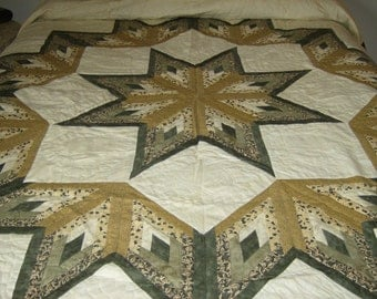 Vintage Amish made King Texas Star Quilt
