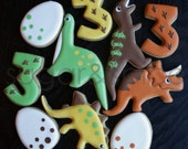 Dinosaur party theme favors - one dozen rolled sugar cookies
