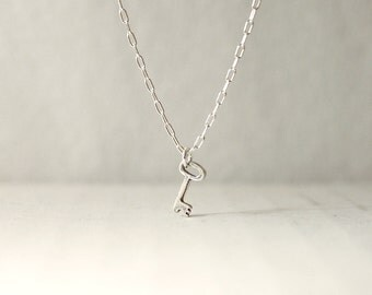 Tiny silver key necklace - sideways or drop - dainty minimal jewelry