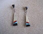 Zuni Sterling Silver Multi Stone Earrings