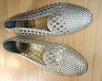 New Old Stock - Vintage 80s, never worn, gold, Italian leather flats