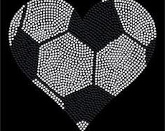 Soccer Heart shirt made with crystal rhinestones