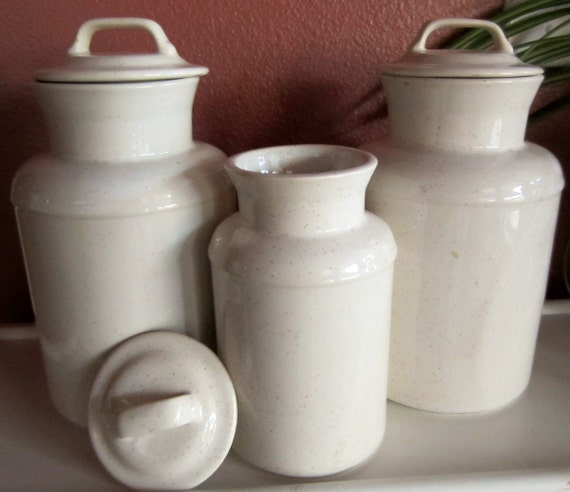 Canister Set of 3, 251 and 252, Speckled White USA Pottery, Farmhouse