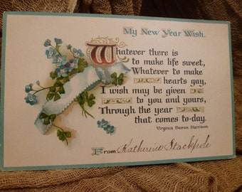 Vintage New Year Wish, 1910.  Lovely poem.