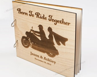 Motorcycle Love Wood Wedding Guest Book Custom Wedding Guest Book Present Christmas Gift Bridal Shower Book Photo Album Advice Book