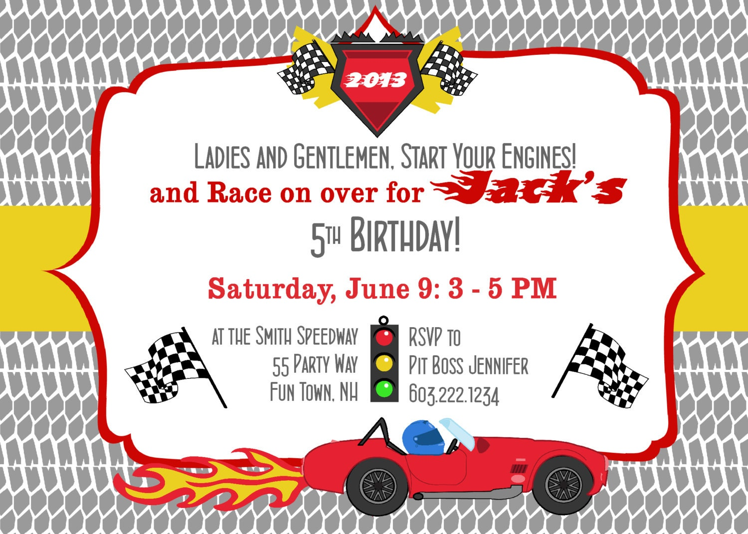 birthday party invitation race car race cars boy birthday 🔎zoom