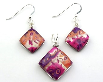 Sterling Silver Wire Wrapped Polymer Clay Pendant and Earring Set in Magenta, Purple, Orange, and Pearl