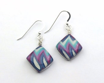 Turquoise, Blue, and Violet Purple ZigZag Wire Wrapped Polymer Clay Earrings