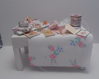 50% sale  Gaël Miniature Filled sewing table shabby chic
