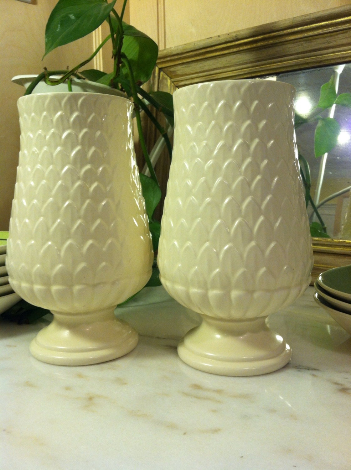 2 Pineapple Spring Colored Red Wing Art Pottery M 1442 Vases