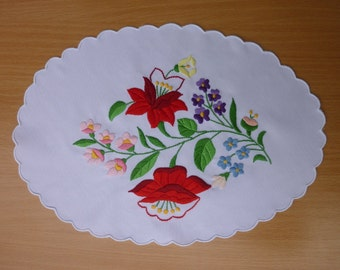 Traditional Hungarian Kalocsa embroidery doily