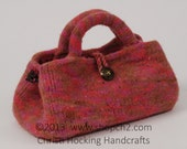 Felted Purse, Hand-knit Purse, Beaded Purse, Pink Purse