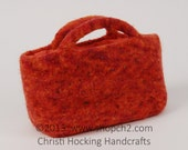 Felted Purse, Hand-knit Purse, Beaded Purse, Orange Purse