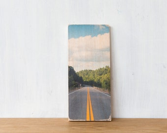 Road trip photography Art Block, Image Transfer on Wood - 'The Road' Fine Art Photography by Patrick Lajoie, camping