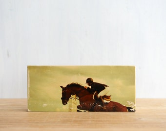 Horse Jumping Image Transfer Mini by Patrick Lajoie, horses, horse jumper, equestrian rider