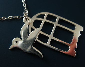 Bird Necklace-925 Sterling Silver Necklace , Bird In Cage A Necklace  - Everyday Necklace