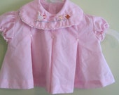 Vintage pink short sleeve shirt, embroidered chickens