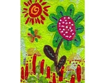 Whimsical Art, Flower Art Print, Green Art, Art For Kids, Nursery Room Decor, Green And Red, Flower Decor, Happy Flower by Paula DiLeo