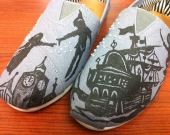 Peter Pan Toms, Disney Toms, Custom Toms, Disney Vacation Shoes, Hand painted Toms, Tinkerbell, Captain Hook, Wendy, Neverland, Disneyland