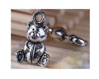 14 Mini TEDDY BEAR Charms Baby Themed Charm Jewelry Atq Silver Tone Little Bear Charms  18x8 mm