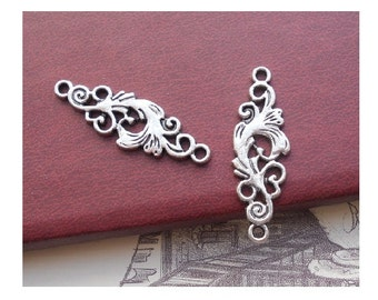 6 Vine Ornate Design Bracelet Connectors Antique Silver Tone Floral Vines Connector Jewelry 35 x 11 mm