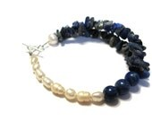 SALE 925 Sterling Silver Asymmetrical Double Strand Lapis Lazuli Chips with Lapis round beads freshwater pearls Egyptian Queen Bracelet