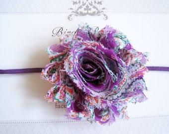 Purple Paisley Headband, Baby Headbands, Infant Headbands, Baby Bows, Baby Girl Headbands, Infant Bows, Newborn Headbands