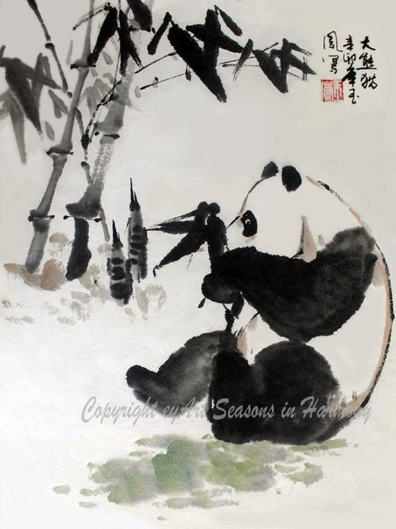Items Similar To Chinese Brush Painting Quot Panda And Bamboo