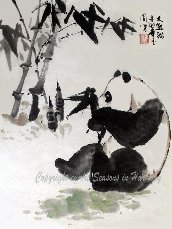 "Items similar to Chinese Brush Painting: ""Panda and Bamboo ..."