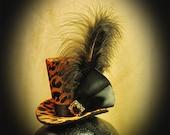 Burlesque, Gothic, Steampunk, Victorian, Showgirl, Mad Hatter, Animal Print Mini Top Hat / headband, black feather