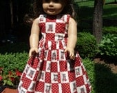 "SALE AG Doll Dress - Cranberry Calico Print with Cat Face and Collar Doll Dress fitting American Girl & Similar 18"" Dolls - Doll Clothes"