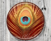 Peacock Feather Pocket Mirror - Copper Turquoise Peacock Compact Mirror - Peacock Feather Photo Image - Compact Mirror - Bridesmaid Gift A23