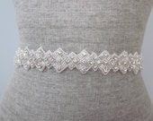 Rhinestone and Silver Beaded Deco Wedding Sash / Belt, Art Deco Triangle Design