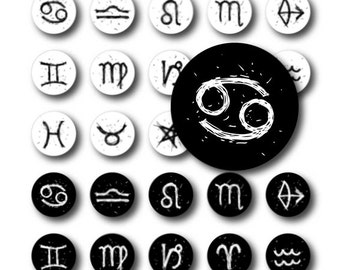 Zodiac Black and white drawing Digital Collage Sheet 1inch, 20, 16mm Circles Bottle cap images for resin pendants cabochon button JPG 127