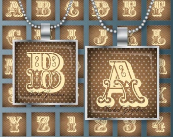 Letters Alphabet Monograms Vintage figure Digital Collage Sheet 1x1 2x2 inch square for pendants brown ivory polka dot Jpg 028