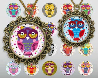 Cartoon Cute Little Owls Digital Collage Sheet 2 inch Circles images for glass tiles resin pendants cabochon button DIY craft JPG 217